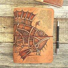 Papiernictvo - Steampunk Fish - kožený zápisník (Midori) - 10448282_