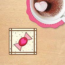 Dekorácie - Stracciatella potlač na koláčik (malinový cukrík s srdiečkom) - 10445455_