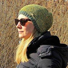 Čiapky - Zeleno žltá melírová čiapka - 10451791_