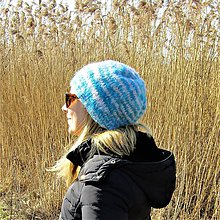 Čiapky - Tyrkysovo biela čiapka - 10451975_