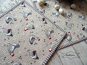 Úžitkový textil - Šedé sliepočky na béžovej ... prestieranie 6 ks - 10451379_