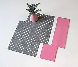 Úžitkový textil - prestieranie Loli šedo-ružové - 10449008_