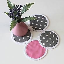 Úžitkový textil - podložky pod pohár Loli šedo-ružová (set 4ks) - 10449014_