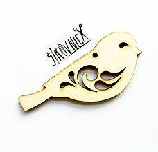 Polotovary - Výrez z preglejky - vtáčik, 8 cm - 10450584_