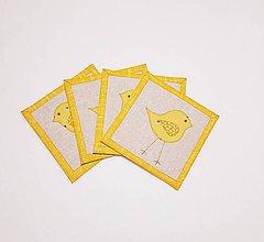 Úžitkový textil - Podšálky  s vtáčikom - 10451541_