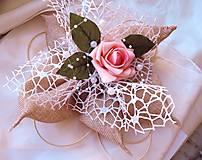 """Dekorácie - svadobné auto """"Jutový květ s růží"""" - 10451897_"""