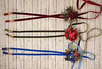 Náhrdelníky - 2 v 1 retiazka s kvetinovou brošňou - modrá varianta - 10451020_