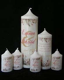 Svietidlá a sviečky - Svatební svíčka - lesní květiny akvarel - 10451378_