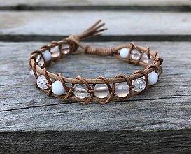 Náramky - Kožený NATUR náramok - krištáľ, jadeit - 10450202_
