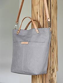 Kabelky - Elegantná dámska kabelka z nepremokavého ľanu so zipsom - 10450930_