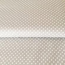 Textil - bodky, 100 % bavlna Francúzsko, šírka 140 cm (Šedá) - 10450218_