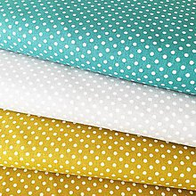 Textil - bodky, 100 % bavlna Francúzsko, šírka 140 cm (Tyrkysová) - 10450224_