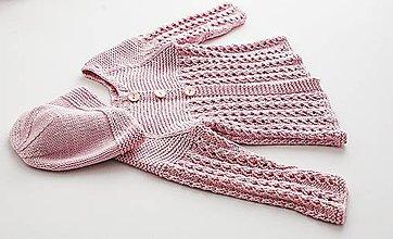 Detské oblečenie - Pletený svetrík pre bábätko - tyrkysový (52/56 - Ružová) - 10451865_