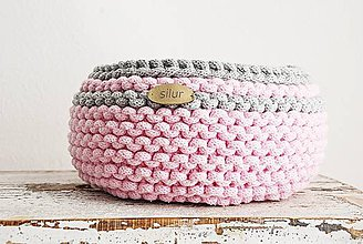 Košíky - Pletený košík - dvojičky ONA&ON (Ružová+sivá) - 10451886_
