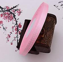 Galantéria - stuha saténová ružová s bodkami 10mm - 10450339_