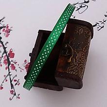 Galantéria - stuha saténová s zelená bodkami 10mm - 10451162_