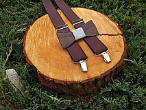 Doplnky - Pánsky drevený motýlik a traky - 10451394_