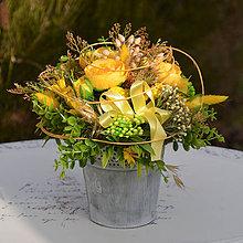 Dekorácie - Žltá dekorácia na stôl - 10452115_