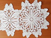 Úžitkový textil - Richelieu - Motýle, biela, 76 x 36,5 cm - 10450415_