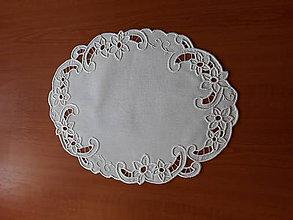 Úžitkový textil - Vyšívané prestieranie - richelieu, biela, 45 x 35 cm - 10450262_