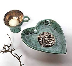 Nádoby - Keramická miska - srdce s reliéfnym stredom - 10449030_