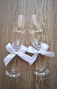 Nádoby - Svadobné poháre s menom -biele - 10450855_