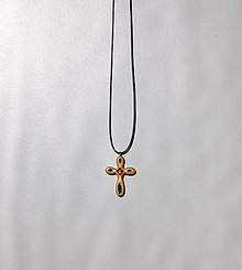 Náhrdelníky - Drevený náhrdelník - Krížik 1 - 10450859_