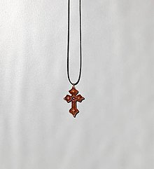Náhrdelníky - Drevený náhrdelník - Krížik 2 - 10450948_