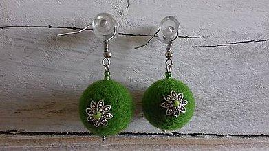 Náušnice - plstené náušničky - svieže zelené - 10449254_