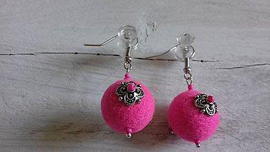 Náušnice - plstené náušničky - ružové - 10449262_