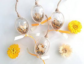 Dekorácie - Veľkonočné vajíčka 4 ks žlté - 10450244_