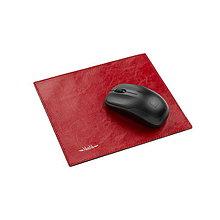 Pomôcky - Kožená podložka pod myš AMIRA - biela (červená) - 10450208_