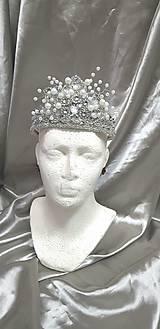 Ozdoby do vlasov - Svadobná korunka, štrasová - 10449970_