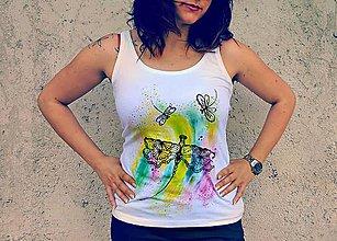 Tielka - ručne maľované tričko- vážka - 10450290_