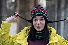 Čiapky - farebná ušianka s nákrčníkom - 10451579_