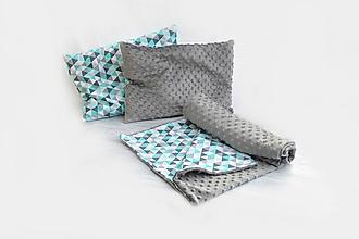 Textil - Minky deka Triangle mint  + 2ks vankúš - 10449466_