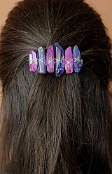 Ozdoby do vlasov - Modro ružová spona do vlasov - 10450925_