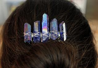 Ozdoby do vlasov - Modrý hrebienok s krištáľmi - 10450903_