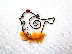 Dekorácie - vrabček  (Oranžová) - 10448899_