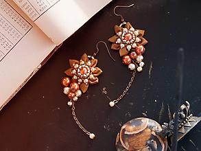 Náušnice - Náušnice so strapcami perál oranžové - 10452019_