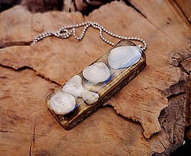 Náhrdelníky - Živicový náhrdelník s mušľami, hnedý, chirurgická oceľ - 10451475_