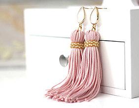 Náušnice - Strapcové ružové náušnice - 10455360_