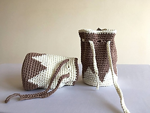 Iné tašky - Mešteky smotanovo-hnedé - 10453230_