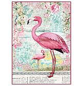 Nezaradené - Ryžový papier na decoupage -A4-Stamperia - plameniak - 10452382_