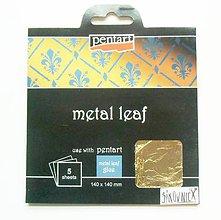 Iný materiál - Metalické plátky, 14x14 cm, sada 5 ks (zlatá) - 10452644_