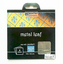 Iný materiál - Metalické plátky, 14x14 cm, sada 5 ks (strieborná) - 10452656_