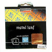 Iný materiál - Metalické plátky, 14x14 cm, sada 5 ks (medená) - 10452665_