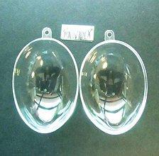 Polotovary - Priehľadné plastové vajce/vajíčko, 8 cm, otvárateľné - 10453502_