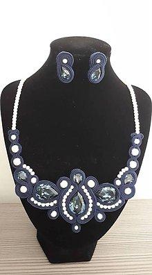 Sady šperkov - Náhrdelník a náušnice ,,Dark blue,, - 10456034_