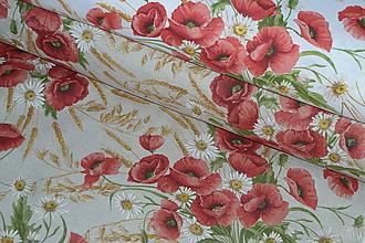 Textil - Látka Maky a obilie (Na bielej) - 10455527_